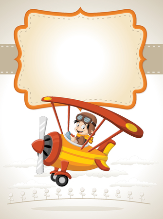 clouds cartoon: Card with a cartoon boy pilot on the airplane flying Illustration