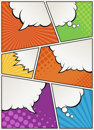 magazine page: Comic book page with speech bubbles. Comic strip background. Illustration
