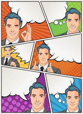 Comic book page with retro man talking. Comic strip background with speech bubbles. Vintage art.