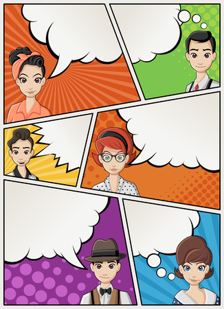 Comic book page with retro people talking. Comic strip background with speech bubbles. Vintage art. 矢量图像