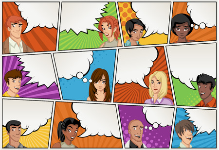 Comic book page with people talking. Comic strip background with speech bubbles. Vintage art. Stok Fotoğraf - 58517564