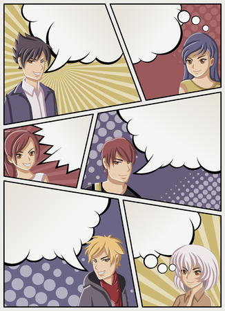 Comic book page with people talking. Comic strip background with speech bubbles. Manga anime teenagers.