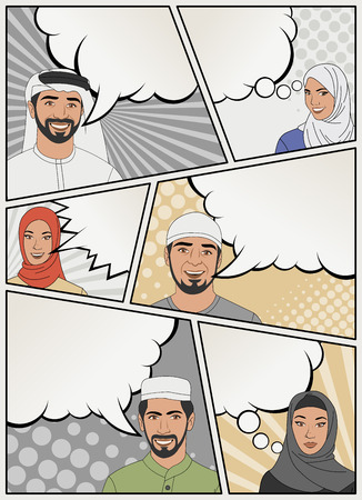 elegant woman: Comic book page with muslim people talking. Comic strip background with speech bubbles.