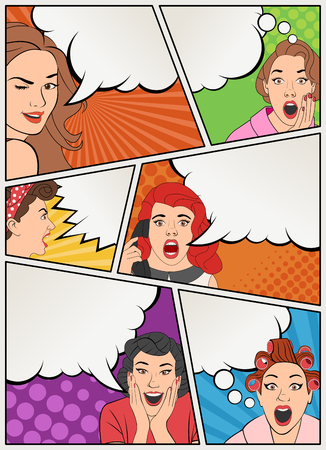 Comic book page with retro women talking. Comic strip background with speech bubbles. Vintage art.