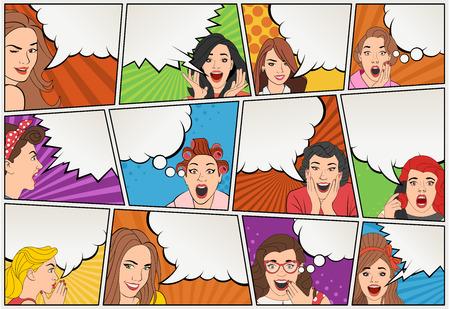 レトロな女性の話と漫画本のページ。漫画の背景のスピーチの泡に。ヴィンテージ アート。