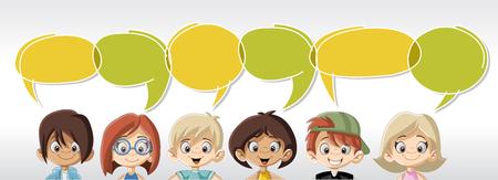 niños de dibujos animados que hablan con las burbujas del discurso