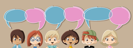 discussion: Cartoon children talking with speech bubbles Illustration