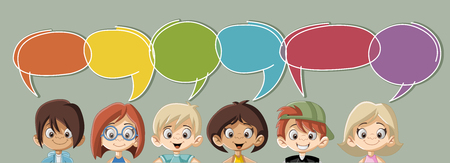Cartoon children talking with speech bubbles Ilustração