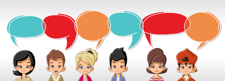 Cartoon children talking with speech bubbles Иллюстрация