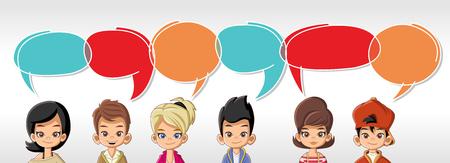 comunicarse: niños de dibujos animados que hablan con las burbujas del discurso
