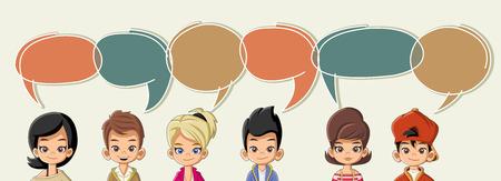 ni�os hablando: ni�os de dibujos animados que hablan con las burbujas del discurso