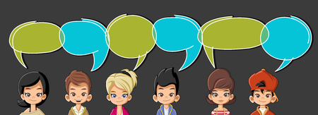talking: Cartoon children talking with speech bubbles Illustration