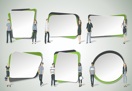 texts: Vector banners  backgrounds with business people. Design text box frames.