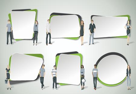 Vector banners  achtergronden met mensen uit het bedrijfsleven. Ontwerp tekstvak frames.