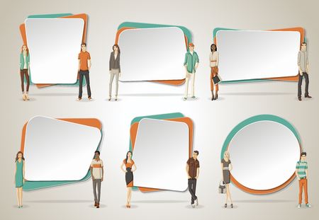 vector backgrounds: Vector banners  backgrounds with business people. Design text box frames.