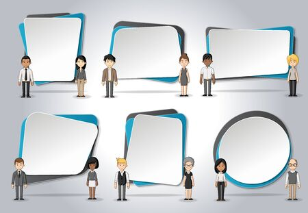 box design: Vector banners  backgrounds with cartoon business people. Design text box frames. Illustration
