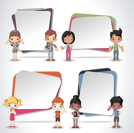 text boxes: Vector banners  backgrounds with cartoon children. Design text box frames.