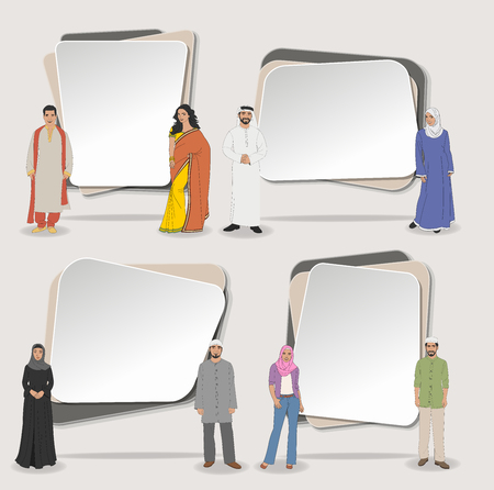 saree: Vector banners  backgrounds with muslim people wearing traditional clothes. Design text box frames.