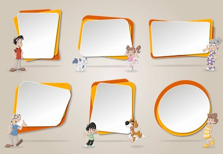 cute text box: Vector banners  backgrounds with cute happy cartoon family with pets. Design text box frames.