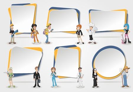 Banderas del vector / antecedentes con la gente de negocios de dibujos animados. Diseño marcos de cuadro de texto. Profesionales.