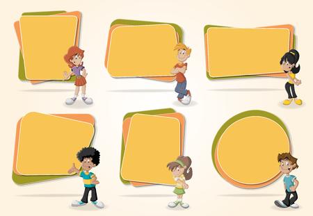 Transparenty wektorowe / tła z nastolatków kreskówek. Projektowanie ramek ramek tekstowych. Ilustracje wektorowe
