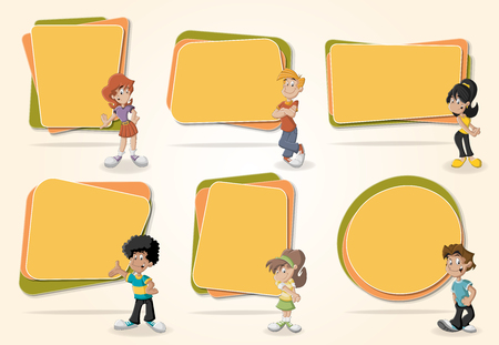 text box: Vector banners  backgrounds with cartoon teenagers. Design text box frames. Illustration