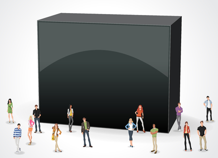 associate: 3d design of the text box frame background with business people.
