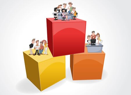 3d design of the text box frame background with cartoon business people working on office
