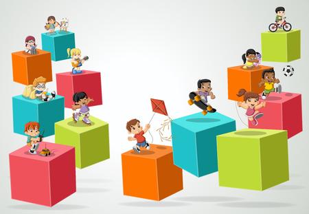 Cubos 3d con niños de dibujos animados jugando. Deportes y juguetes. . diseño de infografía.