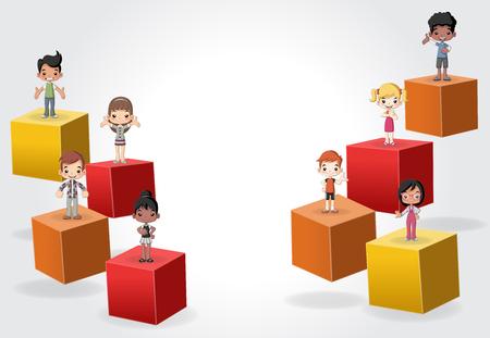 vector element: 3d cubes with cartoon children. Infographic design.