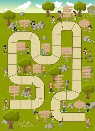 gioco da tavolo con un percorso di blocco su un parco verde con la gente felice e fumetto di legno insegne Vettoriali