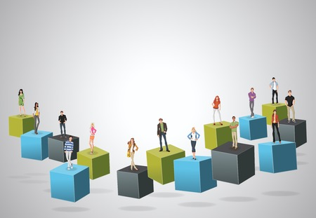 maniac: 3d cubes with business people. Infographic design. Illustration