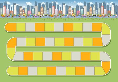 gioco da tavolo con un percorso di blocco in città