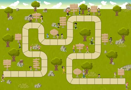 Brettspiel mit einem Block Pfad auf einem grünen Park mit glücklichen Menschen und Cartoon-Holz-Schilder Standard-Bild - 58794587