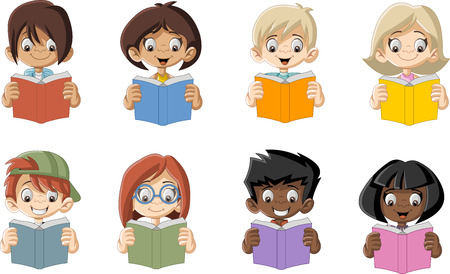 girl glasses: Cute cartoon children reading books. Students. Illustration