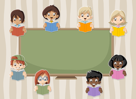 student with books: Card with cartoon student children reading books in the classroom with blackboard. Illustration