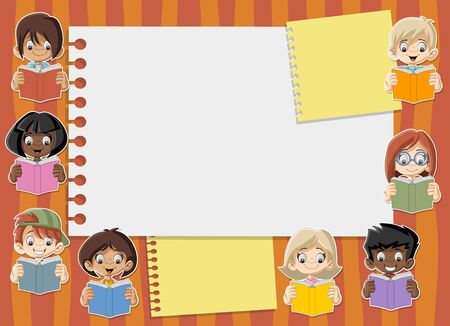 student with books: Template with student cartoon children reading books. Students. Illustration