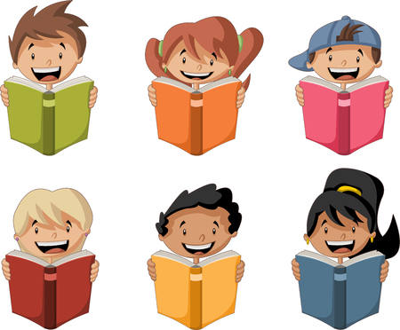 child: Cute cartoon children reading books. Students. Illustration