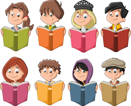 reads: Cute cartoon children reading books. Students. Illustration