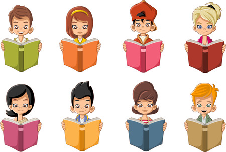 clever: Cute cartoon children reading books. Students. Illustration