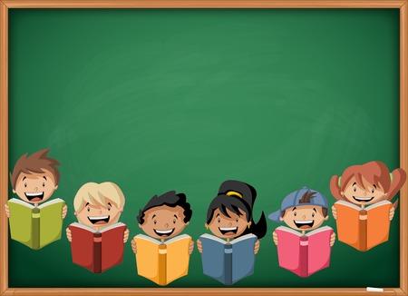 reading glasses: Cartoon children reading books over green chalkboard blackboard. Students.