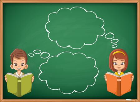 personas leyendo: niños de dibujos animados la lectura de libros sobre pizarra pizarra verde. Los estudiantes que piensan con los bocadillos.
