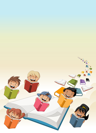 adolescent boy: Cute cartoon children students reading books flying in the sky with books