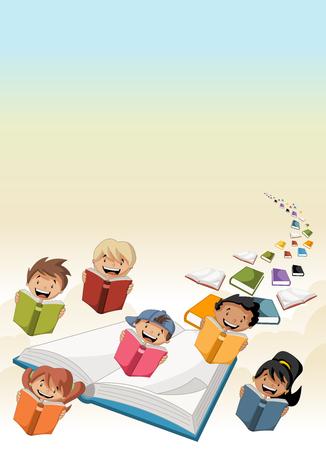 libros volando: los niños de dibujos animados lindo estudiantes que leen los libros de vuelo en el cielo con los libros Vectores