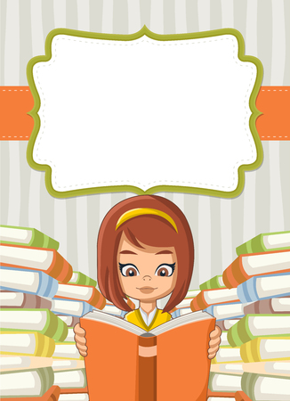 student with books: Card with cartoon girl reading books. Student.