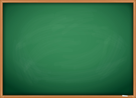 Green chalkboard blackboard with chalk traces and wooden frame.  イラスト・ベクター素材