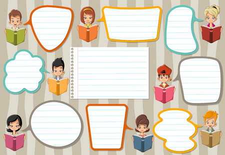 cartoon: Template with cartoon children reading books. Students talking with speech bubbles. Illustration