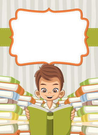 student with books: Card with cartoon boy reading books. Student.