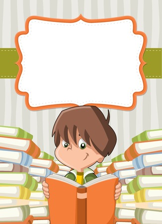 reading glasses: Card with cartoon boy reading books. Student.