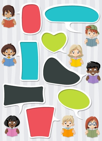 boy friend: Template with cartoon children reading books. Students talking with speech bubbles. Illustration